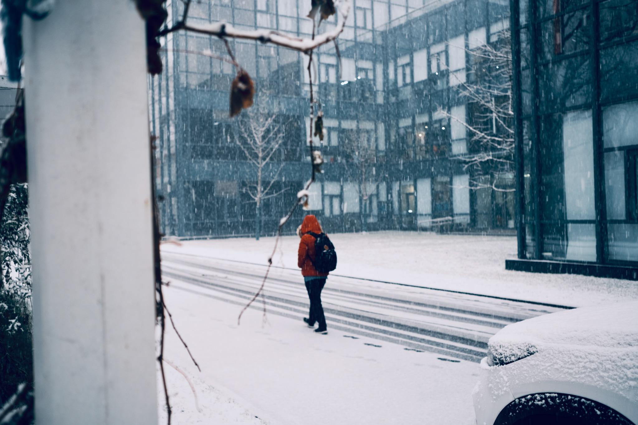 雪中行人和车